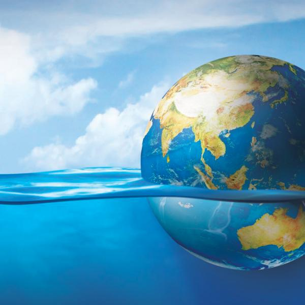 Earth floating in ocean