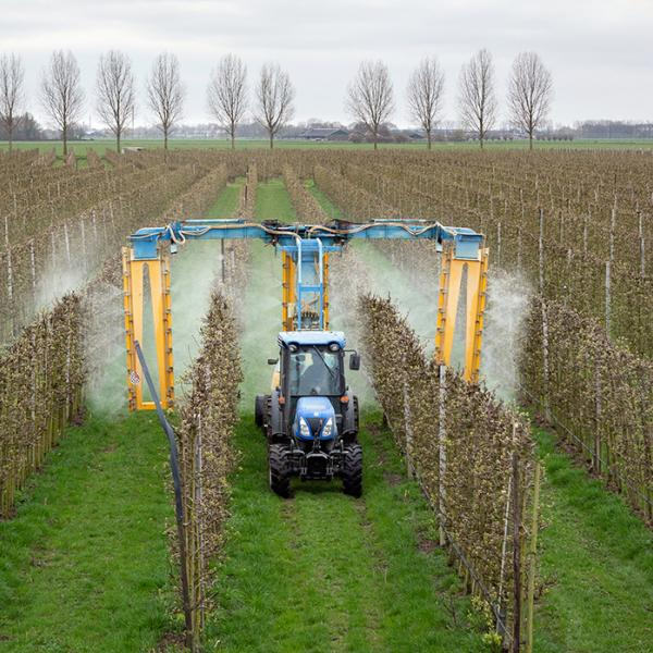 Modern orchard herbicide spraying