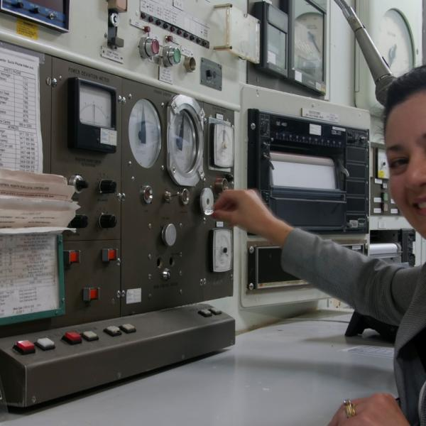 Visitor in the HIFAR reactor control room