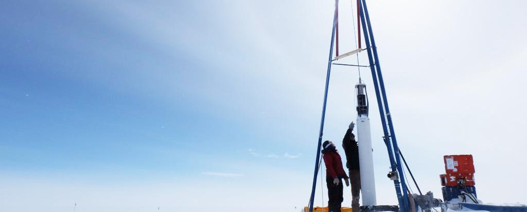 Collecting ice cores in the Arctic