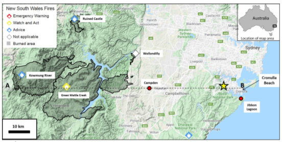 Map NSW fires